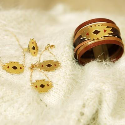 bracelet bague collier maya or pluie d'étoiles bijoux