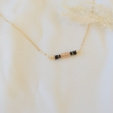 BETTY Collier chaine agate noire et or