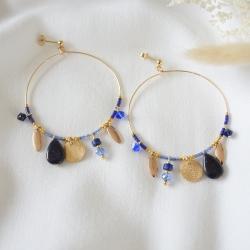 SALOMÉ Créoles bleues et or